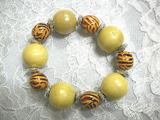 Lt Brown Color Wood Beads Stretch Bracelet New Chunky Bold Safari Zebra & Cream