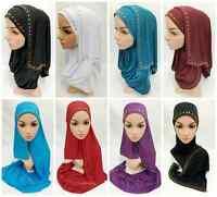 Womens Jersey Slip on Wrap Instant Maxi Hijab Shawls Muslim Islam Headcover