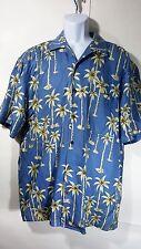 Jos A Banks Hawaiian Camp Shirt sz Large 100% Silk Blue Palm Trees short sleeve