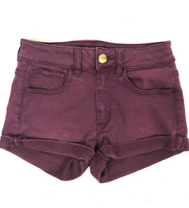 American Eagle Outfitters Womens Shorts 2 Purple Super Stretch Hi-Rise Shortie