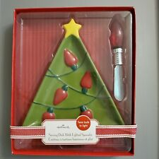 HALLMARK ~ Christmas Tree Serving Dish With Lighted Spreader New in Box