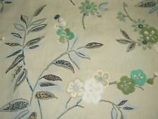 """~3 1/8 YDS~""""FLOWERS""""~PART EMBROIDERED LINEN UPHOLSTERY FABRIC FOR LESS~"""