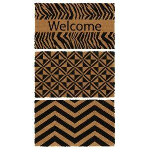 JVL Eco-Friendly Black Pattern Latex Backed Natural Coir Door Mat - 40 x 70cm