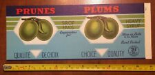 PLUMS PRUNES  tin can label vintage 1940's french Canadian fruits vegetables