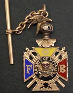 Heavy & Amazingly Detailed Knights of Pythias 10K Gold Enameled Watch Fob  FCB