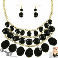 """HIGH END """"GLASS CRYSTAL"""" BLACK CHUNKY FASHION NECKLACE JEWELRY SET CHIC & TRENDY"""