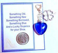 Something Blue Bridal Heart Charm for Garter +Gift Card & Lucky Wedding Sixpence