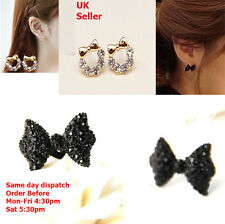 Crystal bow Women Little Stud Earrings Black Gold Girls Jewelry Gift 2018 new