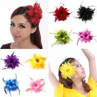 Women Lady Belly Dance Party Wedding Feather Hair Head Flower Pin Brooch Clip