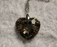 Brown CRYSTAL HEART Longer Length NECKLACE 30Inch