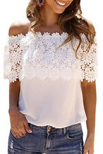New! Sexy Fashion Summer Off Shoulder Lace Chiffon Casual or Club Wear Top 25684
