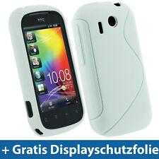 Weiß Weiss Gel TPU Tasche für HTC Explorer A310e Android Schutz Hülle Etui Case
