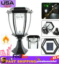 Solar Outdoor Power Yard Lantern LED Light Pillar Post Landscape Lamp Waterproof