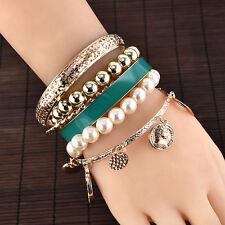 Boho Style Gold Pearl Bead Pendant Cuff Bangle Multilayer Charm Jewelry Bracelet