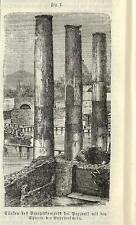 Stampa antica POZZUOLI TEMPIO di SERAPIDE Macellum Napoli 1890 Old antique print