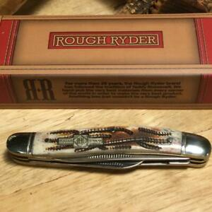 "Rough Ryder Worm Grooved Stag Bone Stockman 3 1/2"" Pocket Knife RR158"