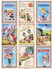 9 Retro Patriotic 4th of July Hang Tags Scrapbooking Paper Crafts (309)