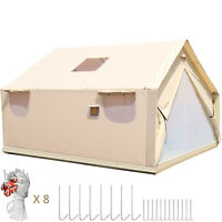 4.3x4.9m Canvas Wall Tent Canvas Tent 10 Persons for Camping Outdoor Activity