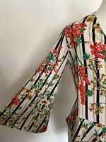 ZARA TOP, IVORY, RED, GREEN & MUSTARD FLORAL, WRAP, V NECK, BELL SLEEVE,XS, UK 6