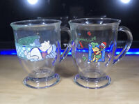 Vintage Anchor Hocking Disney Winnie the Pooh Glass Mugs Pedestal Set of 2 mugs