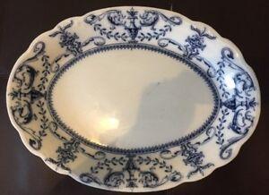 Antique Serving Platter Plate Semi Porcelain Crown Vase W.Adams & co England F