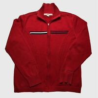 Womens Vintage Tommy Hilfiger Jumper Large/XL Full Zip Red Cotton