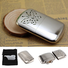 New Metal Hand Warmer Petrol Reusable Pocket Portable Ski Winter Camping UK