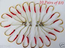 20 Assist Hooks 8/0 Gold Finis For Knife Vertical Jigs - 5 Packs 10 Pairs