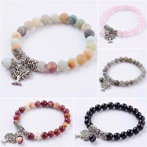 Crystal Gemstone Bracelet Chakra Bead Tree Life Stone Anxiety Reiki Healing UK