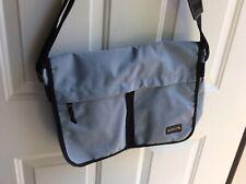 Swatch brand unisex nylon/canvas messenger bag Light blue color.