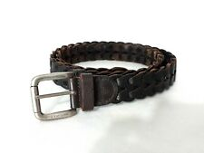 B.CAVALLI Made in Italy Dark Brown Braided Genuine  Leather Belt L