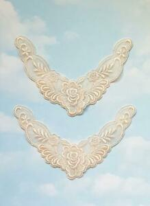 2 Iron On Pale Pink Rose Embroidered Lace Patch - Applique - IR6