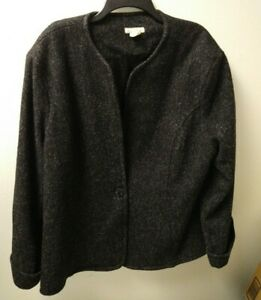 Women's Handmade MAXINE WRIGHT Original Plus Sz  24 1/2 Wool Blazer Coat Black