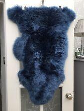 Fabulous Soft And Luxurious Dark Blue Genuine Sheepskin Rug