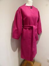 Zara Woman bright pink collarless belted smart coat M 10 12 VGC