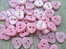 60pcs Novelty Theme Button Resin Heart Shiny Sewing Scrapbooking Kids Pink 11mm