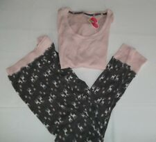MAKE AND MODEL BETTER TOGETHER  2 PIECE THERMAL PAJAMA SET DEER (pink. gray)  XS