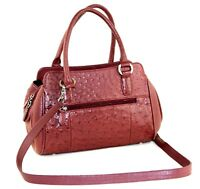 42677df336 Genuine OSTRICH Chocolate Brown Leather Multi Chamber 2 way Shoulder Hand  Bag