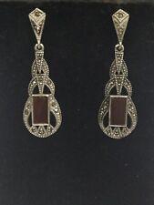 Sterling Silver Marcasite & Carnelion Dangle Earrings