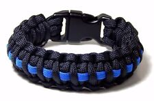 Cobra Weave Paracord Bracelet Thin Blue Line Support Police Hand Made USA 8.5 in