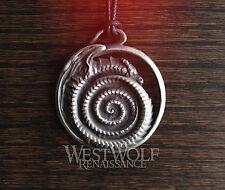 Viking Jormungandr Dragon Spiral Pendant - Norse/Medieval/Silver/Snake/Loki/Odin