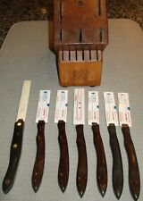 7 Piece Cutco Steak Knife Set/Wood Block-Pre-Owned Very Good Condition