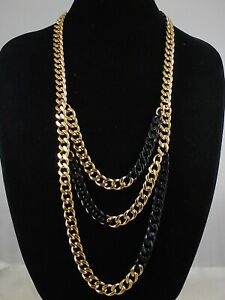 Michael Kors Black & Gold Collection Curb Link Long Layer Necklace MKJ3656 $295