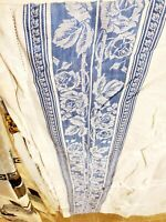 Vintage Jacquard White Blue Floral Damask Table Cloth (Damaged) 80×52""