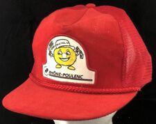 Vtg Mesh Trucker Hat Snapback Patch Cap Buctril M Rhone Poulenc Mascot Farmer