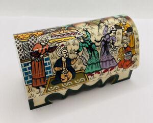 Turkish / Middle Eastern Camel Bone Hand Painted Trinket Box