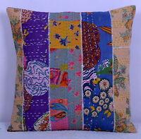 Multicolor Decoración Hogar Kantha Patchwork Cojín Sofá Funda Almohada Algodón