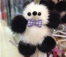 Charm Real Mink Fur Furry  Cute Panda Pom Pom Keyring keychain Pendant For Bag