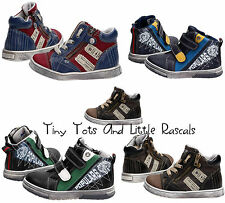Boys Autumn Winter Ankle Hi Top Zip School Shoes Leather Insole Size UK 5-12.5