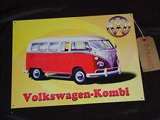 VOLKSWAGEN KOMBI PLACCA VW Camper Van Grande Metallo Segno/Barndoor-Stagno in acciaio stile retrò
